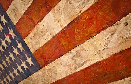 """Detail of Jasper Johns' """"Flag"""", 1954-55. Photo: Andrew Moore/Flickr"""