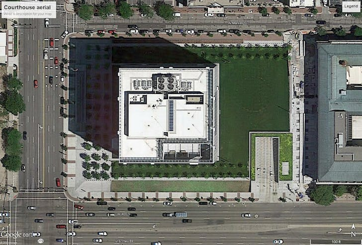 Aerial view of the courthouse block and surrounding area. Image from Google Earth.