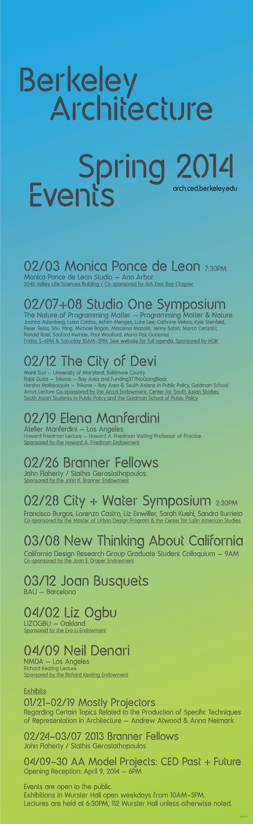 UC Berkeley College of Environmental Design, Spring '14 Lecture Events. Image courtesy of UC Berkeley CED.