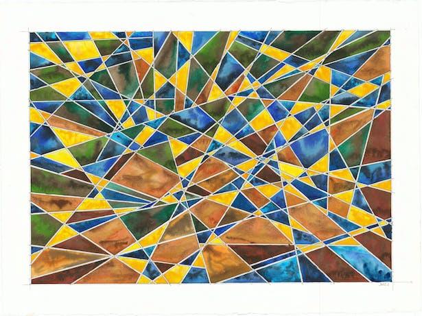 "spyglass 2019-010 22.5"" x 30"" pencil, watercolor on paper"