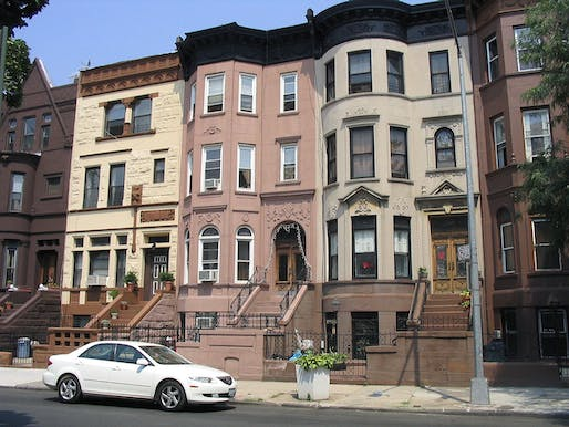 Brownstones in Bedford-Stuyvesant, a rapidly gentrifying neighborhood (or not, according to the Slate article) in Brooklyn. Photo: Henrik Romby/Wikipedia