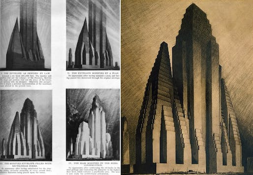 Hugh Ferris's charcoal drawings interpreting possible building variations legislated by New York City's zoning amendment of 1916. (via urbanomnibus.net)