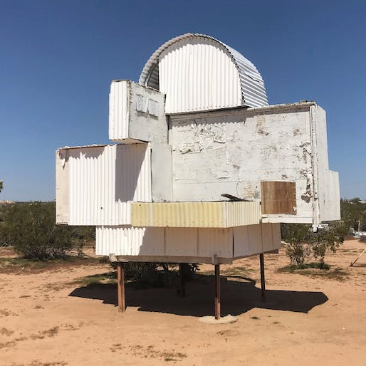 Noah Purifoy's 'Homage to Frank Gehry,' 2000, Noah Purifoy Outdoor Desert Art Museum of Assemblage Sculpture, Joshua Tree, CA. Photo: Sara R. Harris. From the 2019 individual grant to Sara R. Harris + Jesse Lerner for 'These Fragmentations Only Mean ...'