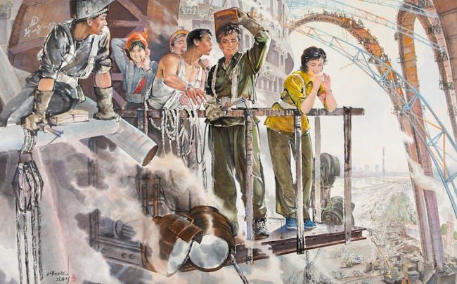 Ji Dong-seok, Construction of May Day Stadium, 1988, ink painting