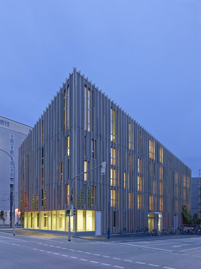 Stadthaus M1 - Green City Hotel in Freiburg im Breisgau, Germany by Barkow Leibinger; Photo © Zooey Braun