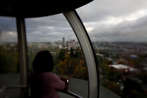 Traveling to the OHSU hospital via the aerial tram takes three minutes. Driving up the twisty mountain road is typically 20 minutes but can be up to 45 minutes depending on traffic. (Caption: NPR; photo: David P. Gilkey/NPR)