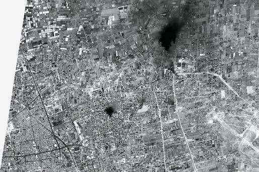 At 11.39am on August 1, 2014, a European satellite called Pleiades happened to be passing over Gaza and took a single, high resolution photograph. This image is a rare insight into the day of conflict as it developed. It is possible to see a recent explosion, areas burning and tanks moving into position. The resolution of 50 centimetres per pixel was previously unavailable for satellite images of Gaza because of the US monopoly and a US-Israeli agreement that forced all satellite images of the...
