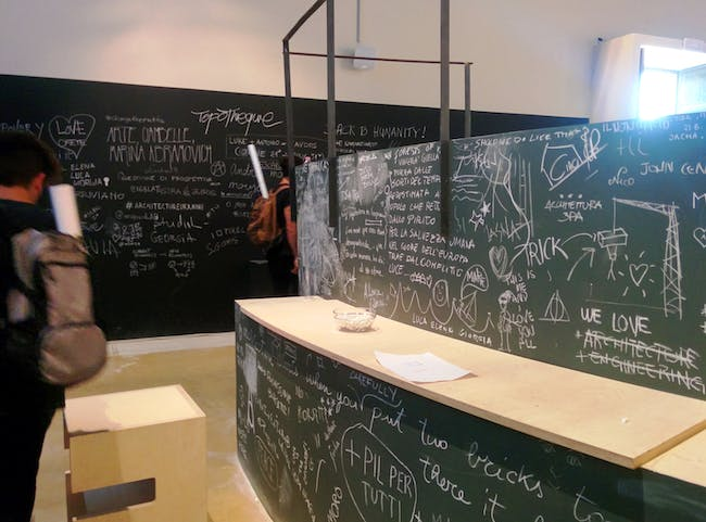 Blackboard at #ThisIsACo-op, Greece Pavilion 2016. Photo by Laura Amaya.