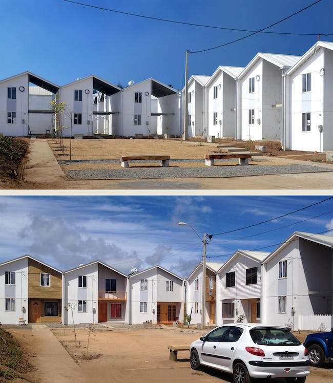"""Quinta Monroy Housing, 2004, Iquique, Chile. Photos by Cristobal Palma — Left: """"Half of a good house"""" financed with public money. Right: Middle-class standard achieved by the residents themselves. Courtesy of ELEMENTAL."""