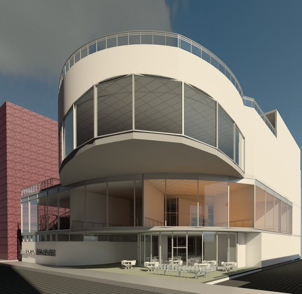 This exterior rendering shows the cafe and the curving leading to the entry of the gym. You also see a canterleaver which is the small track that is on the first floor.