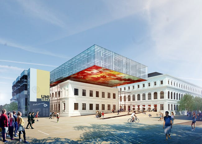 Rendering of the winning design for the new University of Graz Library by Atelier Thomas Pucher. Image courtesy of Atelier Thomas Pucher.