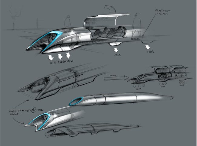 Hyperloop passenger transport capsule conceptual design sketch. Courtesy of Elon Musk/SpaceX