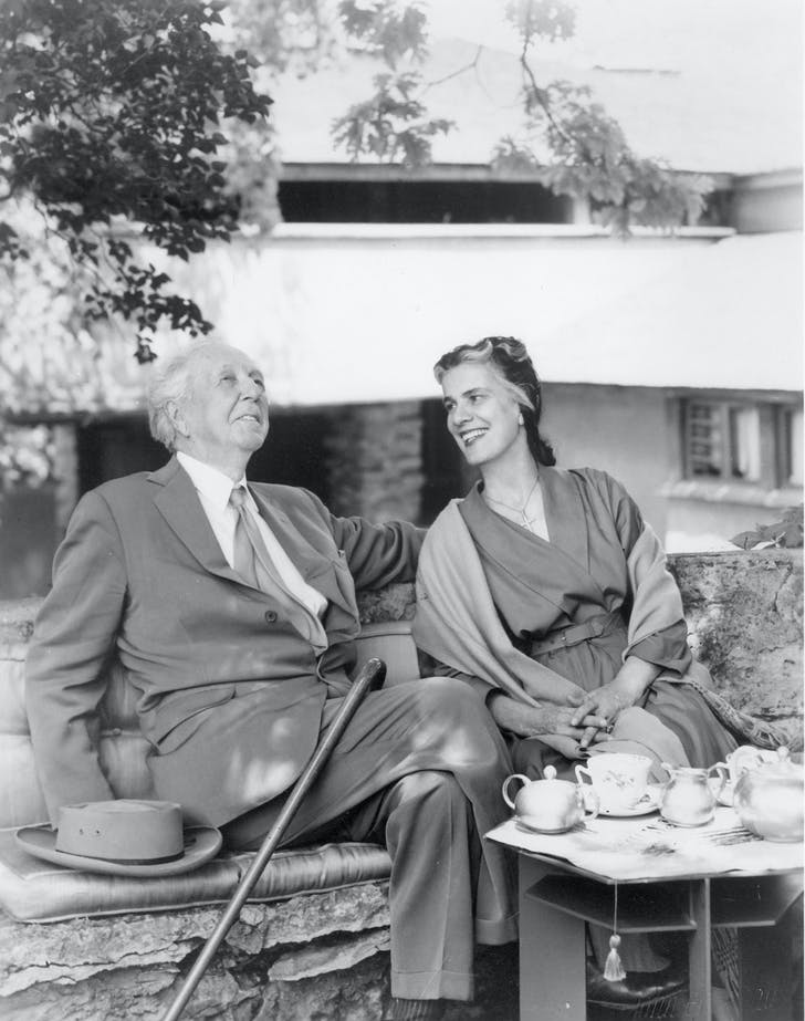 Frank and Olgivanna Wright at home/work. Photo: Frank Lloyd Wright Foundation