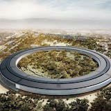 Rendering of the Apple 2 campus in Cupertino, design lead by Lord Norman Foster, image via ArcSpace.
