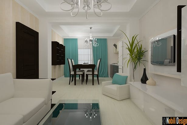 Interior design ideas for a modern living and bedroom Bucharest