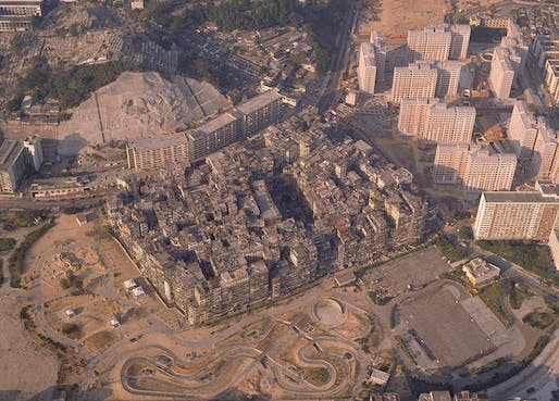 Aerial photo of Hong Kong's (now demolished) Kowloon Walled City. Photo: Greg Girard & Ian Lambot; Image via Kickstarter