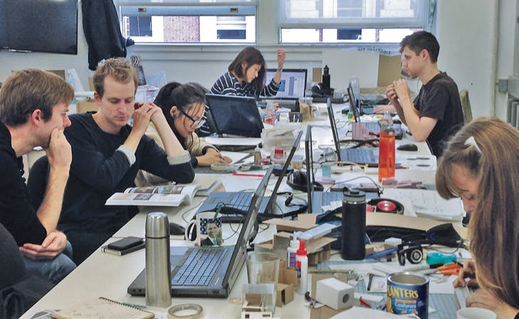 Avery Hall architecture studios, student life with students (l-r) Chris Botham, Matthew Lohry, Rae Zhuang, Melody Siu, Nickolas Mingrone, and Clara Dykstra. Image courtesy of Columbia GSAPP.