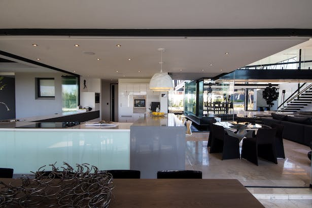 The open plan kitchen.
