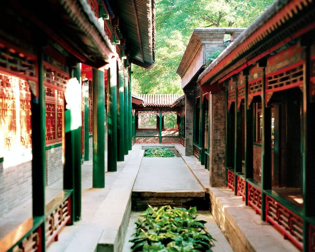 Grand Theater, Prince Kung's Mansion, in Beijing, China. An outdoor corridor runs along the west side of the Grand Theater, 2017. Photo: Yu Zhixin