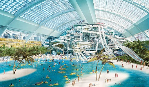The water-park element of the development, currently under construction, is modeled after Hawaii.