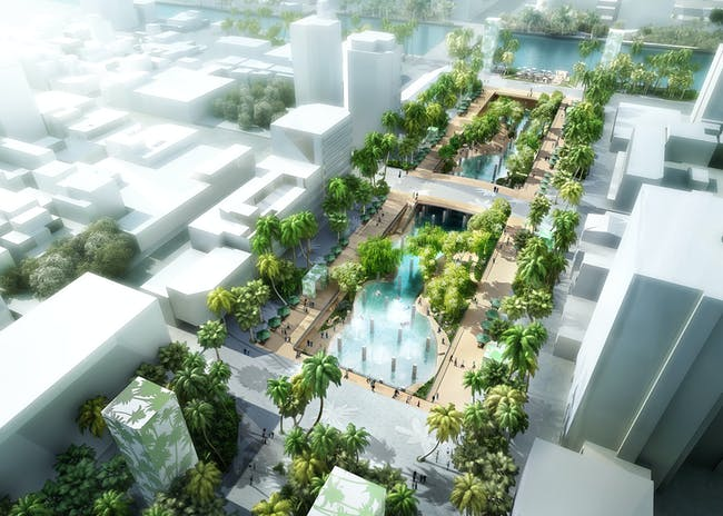 MVRDV's proposed urban lagoon for downtown Tainan in Taiwan. Rendering © APLUS CG. Image courtesy of MVRDV.