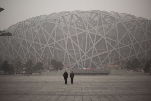 Bird's Nest Olympic Stadium in Beijing on December 1, 2015. Image via darkroom.baltimoresun.com