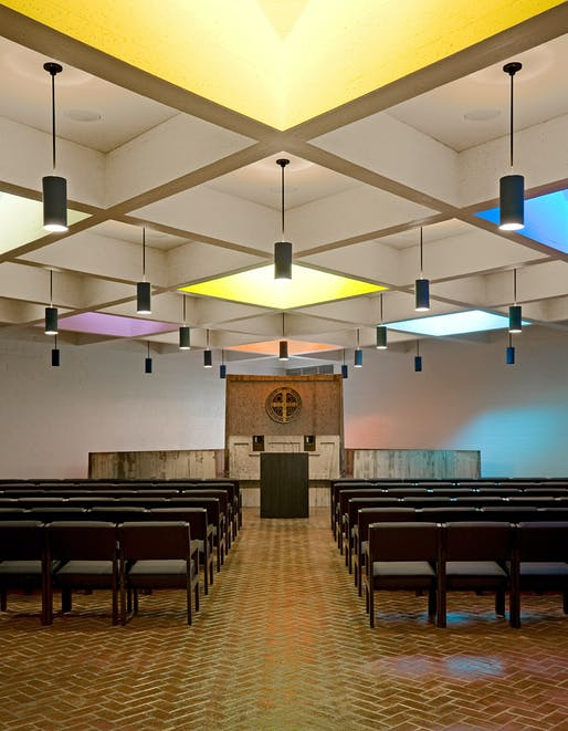 Blessed Sacrament Chapel and Abbey Church Pavilion--Modifications to Marcel Breuer's 1961 St.John's Abbey Church Project; Collegeville, MN (Photo: Paul Crosby Studio)