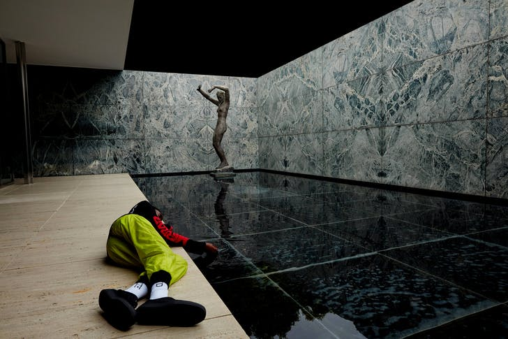 "Caption lifted from W magazine: ""A fashion shoot styled by Virgil Abloh in the Barcelona Pavilion. Photographed by Fabien Montique for a forthcoming book by Abloh of short stories through images."" 15"