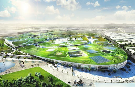 Aerial view of the winning EuropaCity design by BIG, Tess, Transsolar, Base, Transitec, and Michel Forgue (Image: BIG)