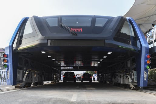 China's road-straddling Transit Explore Bus. Image via aktuality.sk