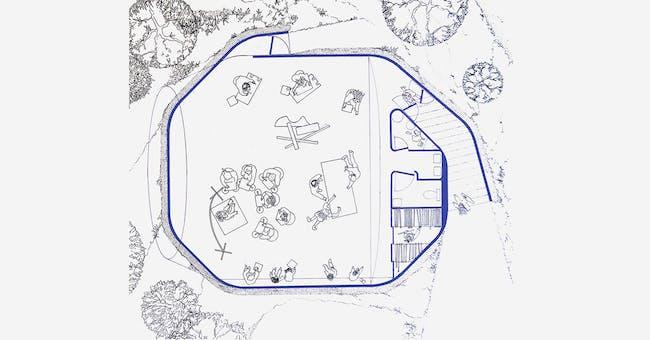 Arts University Bournemouth drawing studio, designed by Sir Peter Cook of CRAB studio. (Image via crab-studio.com)