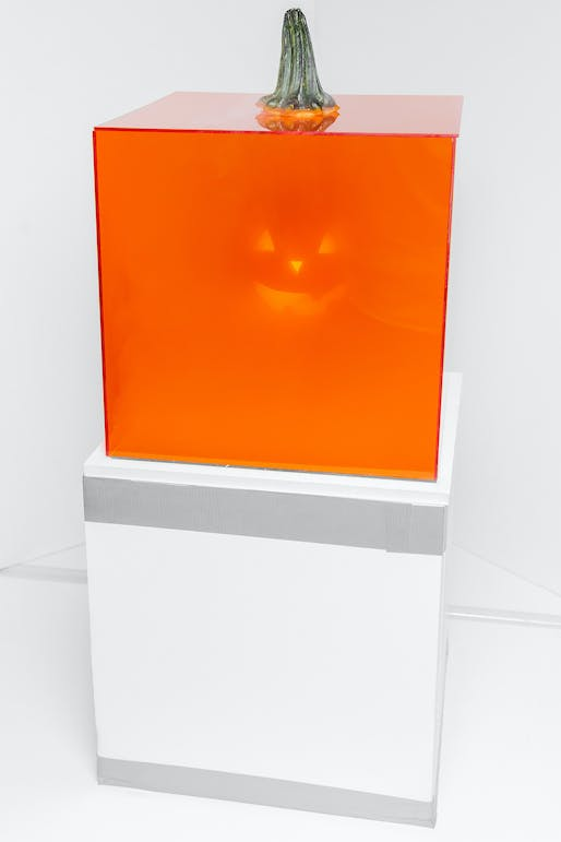 Firm members conceptualized a jack-in-the-box jack-o-lantern, which explored notions of visibility and presence while emanating sinister smoke plumes. Photo by Erik Barden.