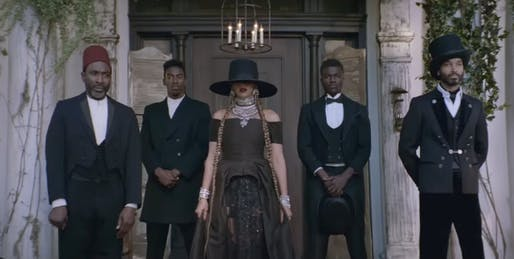 Screenshot from Beyoncé's 'Formation' music video at the Fenyes Mansion in Pasadena, California.