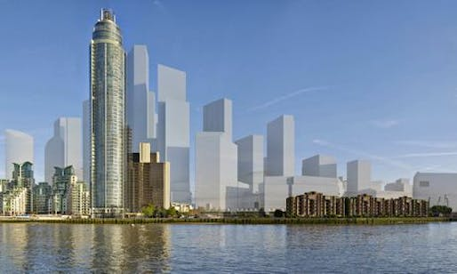 How the view along the Thames from Vauxhall might look. (The Guardian; Photograph: Hayes Davidson)