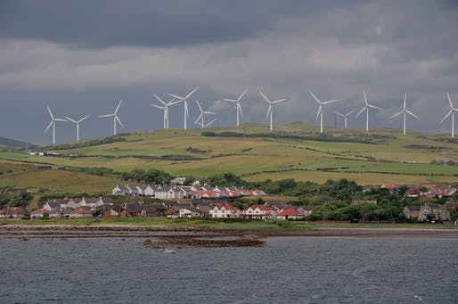 View of wind turbines in Ardrossan, North Ayrshire, Scotland.Image courtesy of Wikimedia user Vincent van Zeijst.