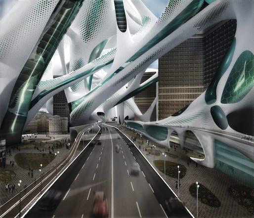 """2100: A Dystopian Utopia – The City After Climate Change"" by StudioTEKA Design. Image via StudioTEKA Design."