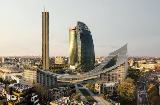 Rendering of Milan's CityLife development with the Bjarke Ingels-designed CityWave building in the front. Image courtesy BIG