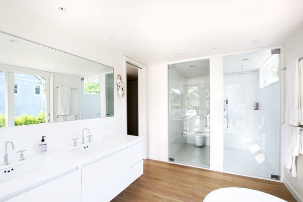A Light-Filled Master Bath with Minimal, White Palette