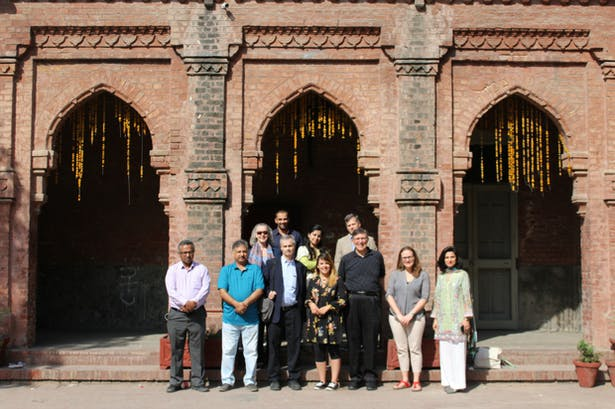 The BAC's Ian Taberner, Don Hunsicker, and Eleni Glekas; and Don's wife Agnes Hunsicker pose with Marty Hylton and Mayreliz Perex from the University of Florida Gainesville, and Khalid Ibrahim, Ali Pasha, and two other NCA faculty members