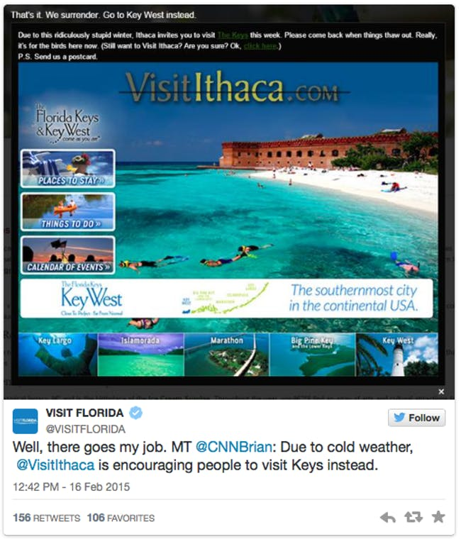 The Ithaca Tourism board added a humorous pop-up urging visitors to head to Florida instead. Credit: Ithaca Tourism Board's twitter via People
