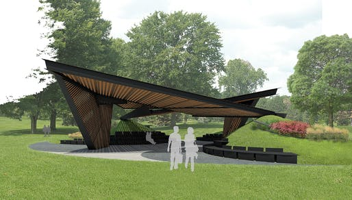 Rendering of the 2018 MPavilion by Carme Pinós of Estudio Carme Pinós. Image courtesy of MPavilion.