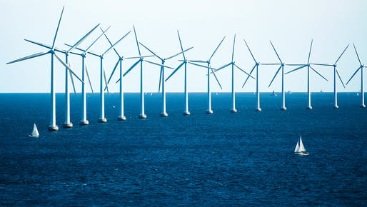Offshore wind turbines near Copenhagen. Photo: CGP Grey/Wikimedia Commons.