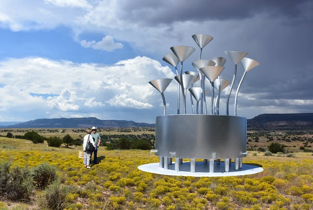 The Rain Funnel sculpture that collects and stores rainwater for the local community.