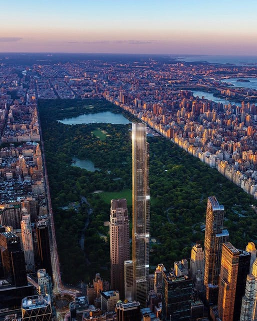 Rendering of NYC's Central Park Tower, the tallest building completed in 2020. Image via @centralparktower/Instagram.