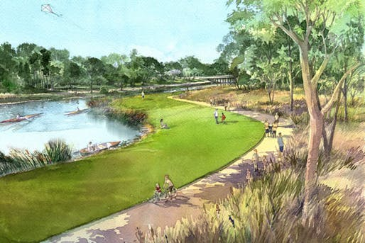 The Bayou Greenways project will add 150 miles of biking and walking paths, but will Houston residents be able to safely access it via local streets? Image: Kinder Foundation; via usa.streetsblog.org