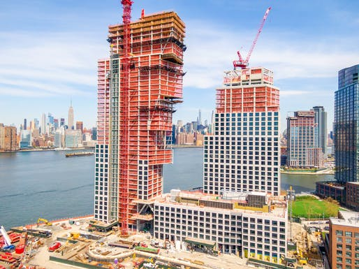 OMA's Greenpoint Landing Block D has topped out. Photo: Elevated Angles LLC, courtesy of Highbury Concrete.