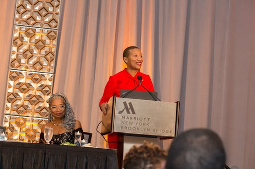 NOMA President Kimberly Dowdell at 2019 NOMA Honors Banquet and Phil Freelon Professional Design Awards. Image courtesy of NOMA