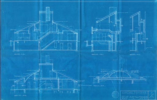 Vanna Venturi House blueprints. All imagery courtesy of Design Yard Sale.