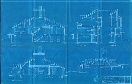 Vanna Venturi House blueprints. All imagery courtesy of Design Yard Sale.