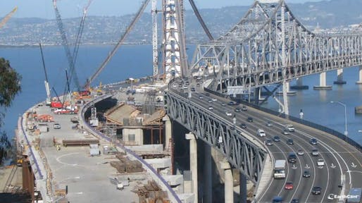 Still from the San Francisco-Oakland Bay Bridge Construction Time-Lapse Video
